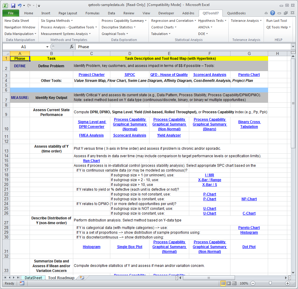 Qetools Excel Add In Dmaic Tool Roadmap