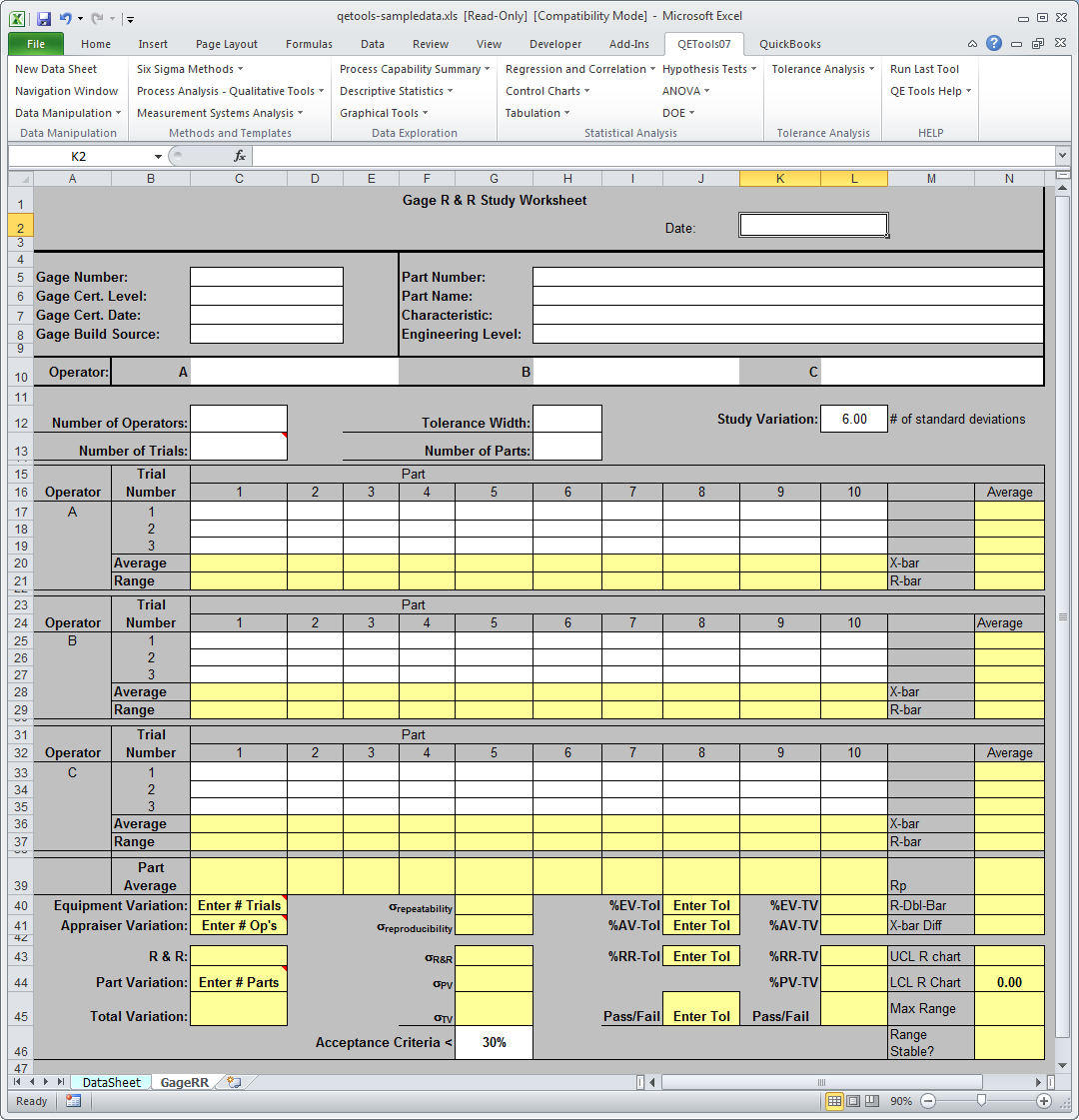 DMAIC / Six Sigma Excel Add-in - Free Trial - QETools